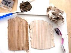 Schema Parure en pâte polymère imitation bois et cuir motif aztèque avec impression silk-screen
