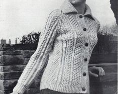 Womens Aran Jacket knitting pattern pdf download Ladies Aran cardigan with Collar 36-40 inch Aran worsted 10ply PDF instant download