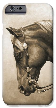 Popular iPhone 6s Cases - Western Horse Painting In Sepia iPhone 6s Case by Crista Forest