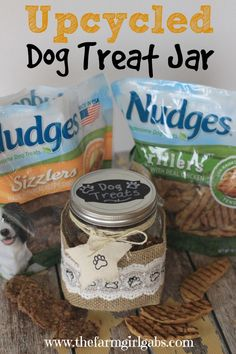 Tails will be wagging! Learn how to make this easy Upcycled Dog Treat Jar. It's perfect for your dog's Nudges® Grillers and Sizzlers Treats.  #Ad #NudgeThemBack