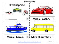 Spanish Transportation 2 Emergent Reader Booklets El Transporte by Sue Summers - Each booklet contains 12 pages: the title page and 11 additional pages. One contains text and images, the other contains text only so students can sketch and create their own versions of the booklets.