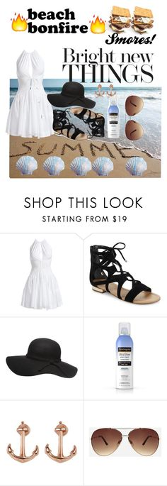 """""""Smores Beach Bonfire!😋"""" by anchorheart12 ❤ liked on Polyvore featuring Alaïa, Saks Fifth Avenue, Neutrogena, Lucky Brand and Ashley Stewart"""