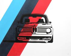 (Mirror image) BMW 2002 Turbo - handmade prints of classic cars: BMW racing colors (although image is reverses) Bmw 2002, Car Illustration, Graphic Design Illustration, M Bmw, Car Prints, Cars 1, Bmw Cars, Bmw Classic Cars, Car Posters