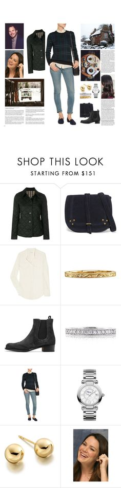 """""""Untitled #3156"""" by duchessq ❤ liked on Polyvore featuring Burberry, Jérôme Dreyfuss, J.Crew, Mark Broumand, Equipment, Chopard, Astley Clarke and Whiteley"""