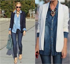 Como Usar - Camisa Jeans! Mais Blue Jean Outfits, Jean Jacket Outfits, Denim Outfit, Denim Shirt, Fashion Days, Work Fashion, Denim Fashion, Fashion Outfits, Fast Fashion