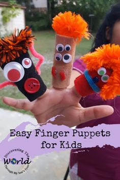 Easy Finger Puppets For Kids – Discovering the World Through My Son's Eyes Summer Crafts For Kids, Projects For Kids, Diy For Kids, School Projects, Kids Crafts, Stem Activities, Activities For Kids, Pirate Fairy, Puppets For Kids
