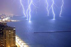 Lightning strikes on Lake Michigan.