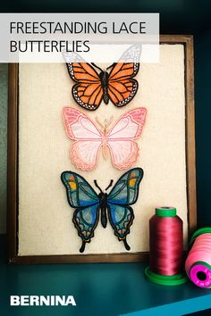 Need some new décor for your space? Learn how to make these beautiful, freestanding lace butterflies with machine embroidery on the blog at weallsew.com. Sewing Patterns Free, Sewing Tutorials, Machine Embroidery, Butterflies, Space, Learning, Tips, Blog, How To Make