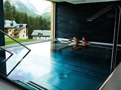 """NIRA SPA, NIRA ALPINA  Surlej, Switzerland  An après-ski heaven with a convenient location overlooking the slopes in a serious skiers' hotel in the Engadine Valley. There's a huge sauna, a few aroma and steam rooms, and a whirlpool with an underwater """"bed."""" Some slick techiness, a stainless steel whirlpool, and mood lighting across the chill-out zones—is softened by quirky sofas resembling oversized pebbles. The Technogym has massive light boxes with images of the mountains in summer and…"""