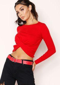 c80d2fc45ab99 Missyempire - Jillian Red Knit Knot Detail Top