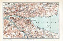 "zurich map german 1894 lithograph 6 x 9"" $25"