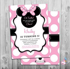 Minnie Mouse Birthday Invitations | Printable Girls Party Invitation | Pink White Polka Dots Black | See our Shop for Minnie Decorations