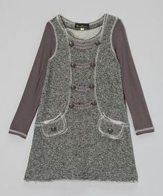 Gray Military Button Dress