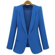 Blue Long Sleeve Lapel One Covered Button Design Blazer ($57) via Polyvore