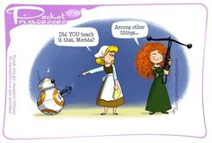 Pocket Princesses << So Chewie let Merida borrow his bowcaster, and she taught BB-8 how to use a crossbow?