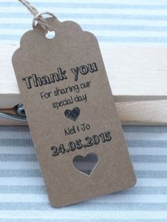 20/50/100 Personalised Wedding Favour Gift Tags Thank you Guest Label Kraft