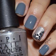 Beautiful nail art designs that are just too cute to resist. It's time to try out something new with your nail art. Gray Nails, Love Nails, Pink Nails, Leopard Print Nails, Leopard Prints, Animal Prints, Blue Nail Designs, Cheetah Nail Designs, Accent Nails