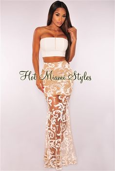 Off-White Embroidered Maxi Strapless Two Piece Set