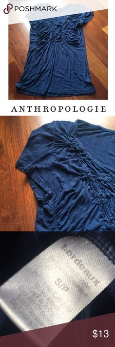 Anthropologie Bordeaux Navy Blue Ruched Top Anthropologie Bordeaux Navy Blue Ruched Top. V-Neck. 18.5 inch bust. 26 inches long. Gently worn. Shows some signs of wear but still good condition. Rayon and spandex. Feel free to make an offer. Anthropologie Tops Blouses