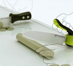 Redesign the Kitchen Knife    Designer Jongwoo Choi believes traditional knives are not suitable for elderly because the center of mass is located at the rear when people push down. His solution – the Swing Capsule kitchen knife. The handle can rotate up and over the blade creating a more centered balance while keeping your fingers safely away.