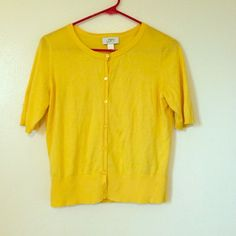 Ann Taylor LOFT yellow cardigan Awesome condition! Worn a handful of times. Really springy! It is short sleeved. Very soft! LOFT Sweaters Cardigans