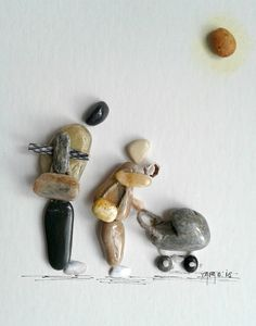 """Walking with bebe"" pebble art by Hara"