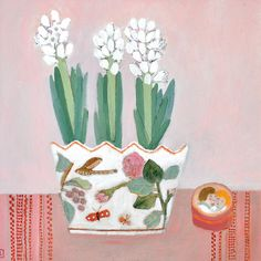 White Hyacinths by Jill Leman, Fine Art Greeting Card, Acrylic on Board, White hyacinths in flowery pot Greeting Cards Uk, Illustrations, Illustration Art, Floral Artwork, Yellow Art, Naive Art, Simple Art, Graphic, Painting Inspiration