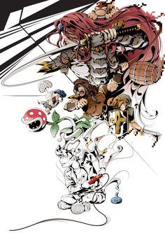 """Dernier projet de l'illustrateur Man-Tsun : """"The Gamer, Player 1 Vs Player 2"""" est un hommage au jeux vidéo et à ses personnage favoris d'antan et d'aujourd'hui."""
