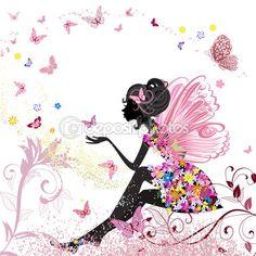蝶の環境での花の妖精 — ストックイラストレーション #10773053