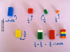 Easy way to teach fractions using Legos to children