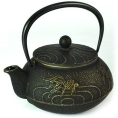 Japanese Tetsubin Cast Iron Teapot Gold Fish Design