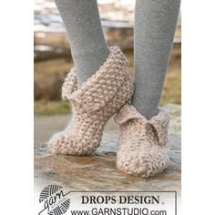 Knitted Ladies' Slipper Pattern in Seed St in DROPS