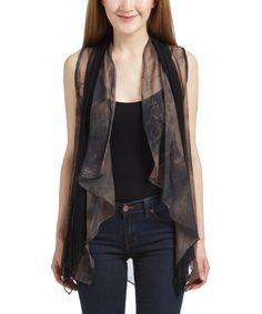 Another great find on #zulily! Black & Gray Tie-Dye Silk-Blend Drape Vest #zulilyfinds