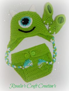 Crochet Monsters Inc Prop Mike Hat , Diaper Cover , Shoes 6-12m by RosalieCraftCreation on Etsy
