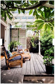 For the under-utilised west-facing garden, a landscape gardener suggested installing French doors off the bedroom opening onto a deck. West Facing Garden, Outdoor Decor, House, Home, Outdoor Space, Patio Design, Exterior Design, Installing French Doors, Outdoor Design