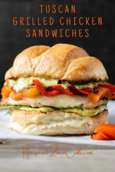 These Tuscan Grilled Chicken Sandwiches feature seasoned grilled chicken, provolone cheese, baby spinach leaves, roasted red peppers, and pesto mayo on Ciabatta rolls or sandwich buns. This recipe makes a great lunch, dinner or impressive romantic date night meal for two.