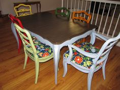 Painted Dining Room Furniture is also a kind of Painted Dining Room Table Guides Roomy Designs Painted Dining Room Table, Kitchen Table Redo, Dining Room Furniture Sets, Dinning Room Tables, Furniture Making, Dining Chairs, High Table And Chairs, Cool Tables, Painted Furniture