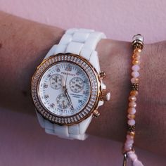 Our Frida Prestiny Watch looking gorgeous on pink 💕 An amazing fashion accessory 🌸