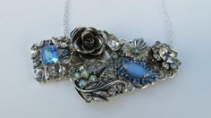 Vintage Jewelry Repurposed Collage Necklace Blue by LucysRedRose, $30.00