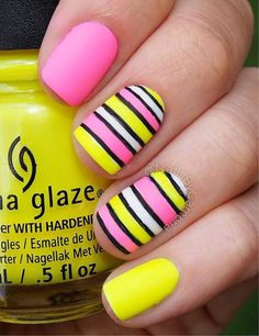 Summer nail art ideas - 7 striped nails, yellow nails, get nails, hai Spring Nail Art, Nail Designs Spring, Spring Nails, Summer Nails, Nail Art Designs, Nails Design, Funky Nails, Trendy Nails, Yellow Nail Art