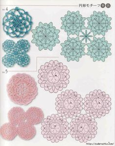 Circle, square, triangle, hectagon, octagon, edgings japanese crochet book (2)