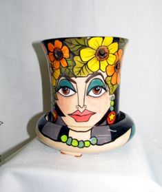 Orchid Flower Pot/ Planter Ceramic  2 Piece Orange and Yellow Impressionistic Flowers, Women's Face Black & Gray Striped Background on Etsy by artistsloftppaquin1 on Etsy