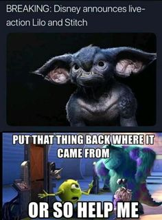 Honestly I'm sick of Disney making live action movies. Not that this is actual… Honestly I'm sick of Disney making live action movies. Not that this is actually what Stitch would look like, but I mean come on. Some movies… Continue Reading → Disney Memes, Humour Disney, Disney Princess Memes, Funny Disney Jokes, Disney Facts, Really Funny Memes, Stupid Funny Memes, Funny Relatable Memes, Haha Funny
