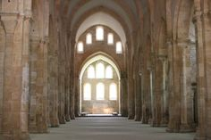 Abbey at Fontenay, France, Nave looking East.