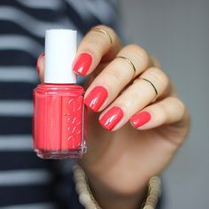 Lastly, I have for you this bright energetic crimson called {Sunset Sneaks} from the new @essiepolish Summer 2015 Collection.  ❤️❤️ Opaque with two coats. ❤️ I am INLOVE with this collection!