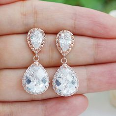 Wedding Jewelry Bridal Earrings Bridesmaid Gift Bridal Jewelry LUX Rose Gold clear white cubic zirconia Crystal tear drop Wedding Earrings