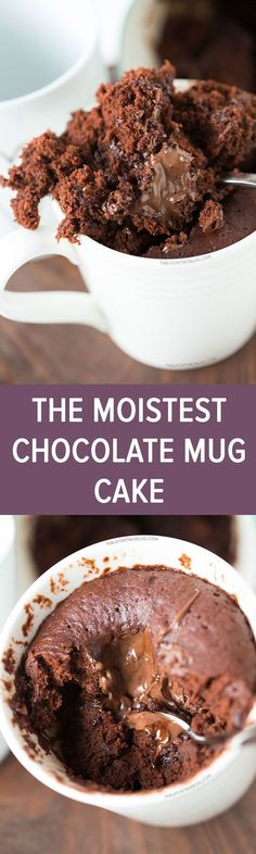 The moistest chocolate mug cake you will ever have! It's not spongy like other mug cakes! Recipe on tablefortwoblog.com