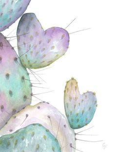Original Watercolor 'Purple Prickly Pear' Cactus