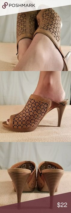 New Impo Brown Cut Out Design High Heel Clogs These shoes are Brand New/Never Worn and are in PERFECT CONDITION. The heel height of this shoe is 4 inches tall. These shos fit like a size 8.5 to maybe a 9. Impo Shoes Heels