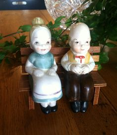 Vintage Couple Sitting on a Bench Salt and Pepper Shakers